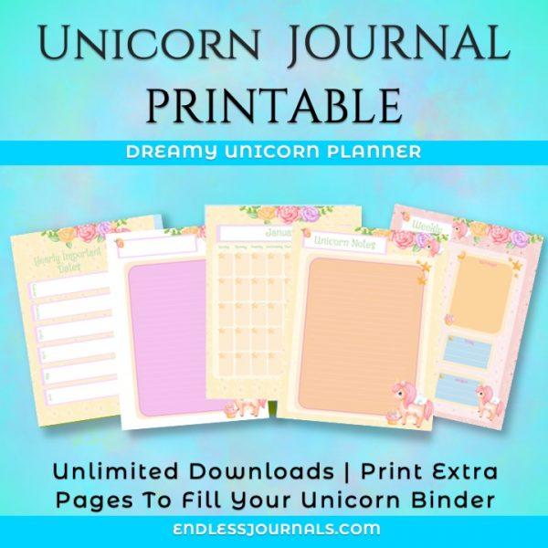 unicorn journal planner printable 03
